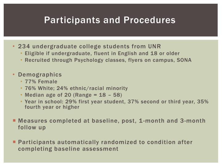 Participants and Procedures