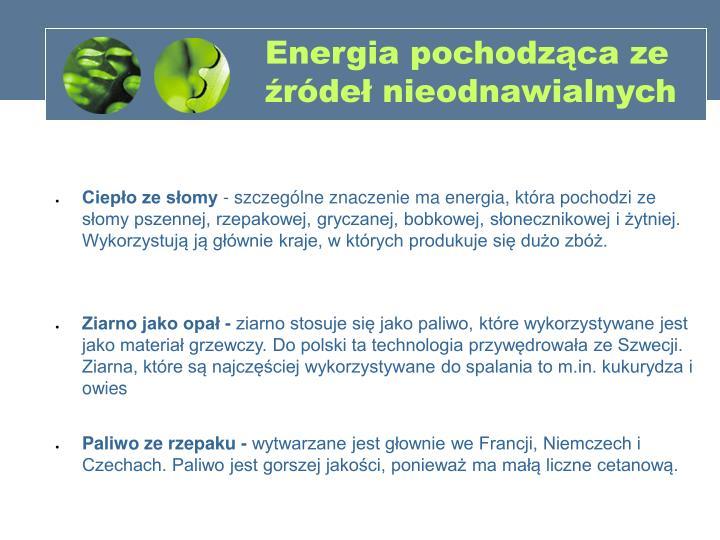 Energia pochodząca ze źródeł nieodnawialnych