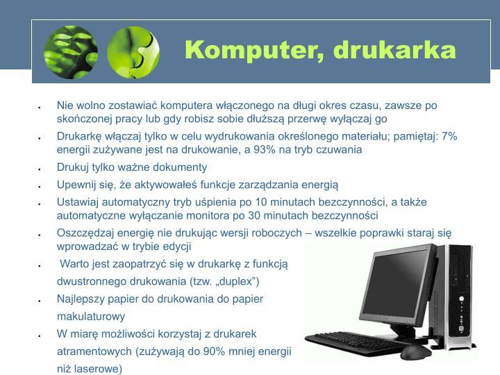 Komputer, drukarka