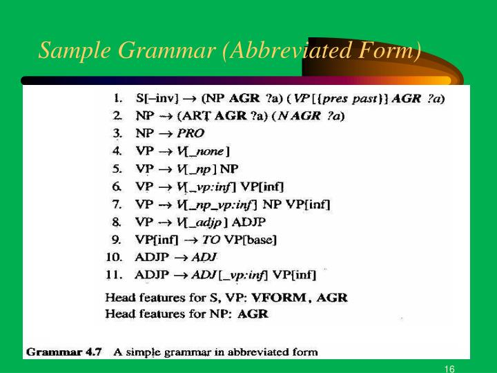 Sample Grammar (Abbreviated Form)