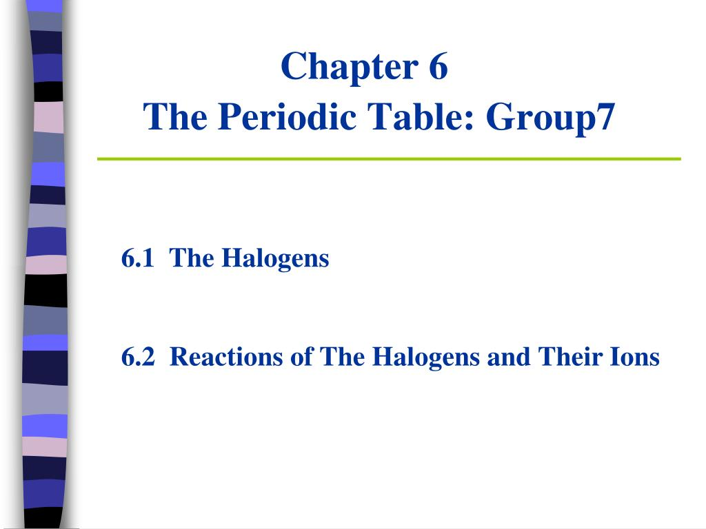 Chapter 6 The Periodic Table Group7 N