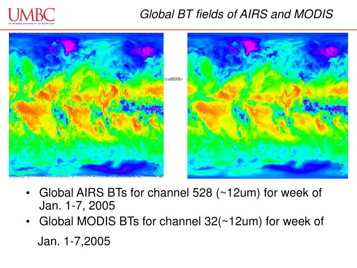 Global BT fields of AIRS and MODIS