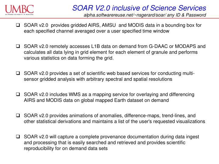 SOAR V2.0 inclusive of Science Services
