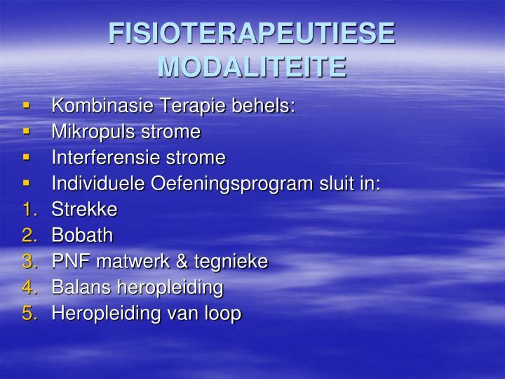FISIOTERAPEUTIESE MODALITEITE