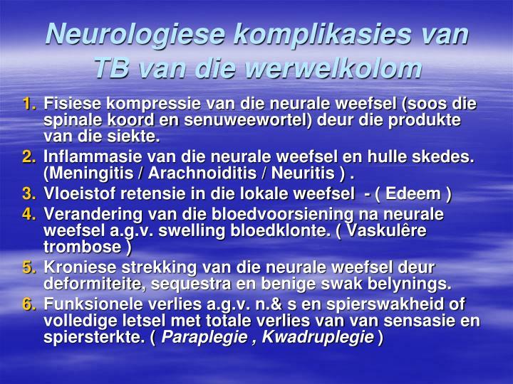 Neurologiese komplikasies van TB van die werwelkolom