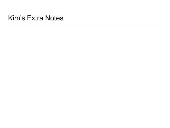 Kim's Extra Notes