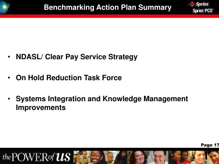 Benchmarking Action Plan Summary