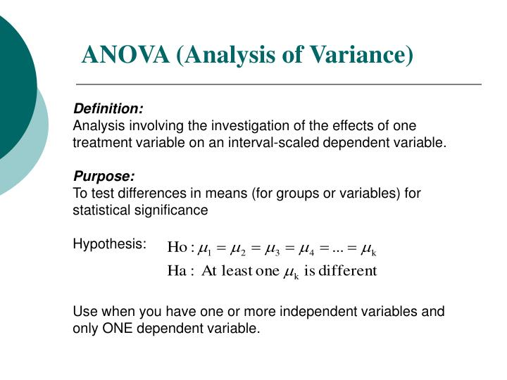 anova anova Note that when the number of samples is k=2, the analysis of variance (standard weighted- means analysis) is equivalent to a non-directional t-test with f=t 2.
