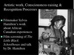 artistic work consciousness raising recognition processes