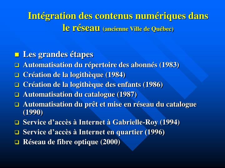 Intégration des contenus numériques dans le réseau