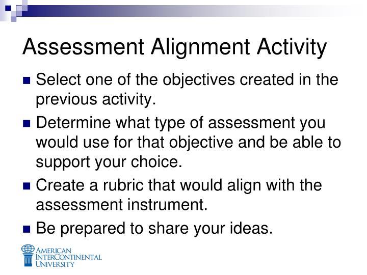 Assessment Alignment Activity