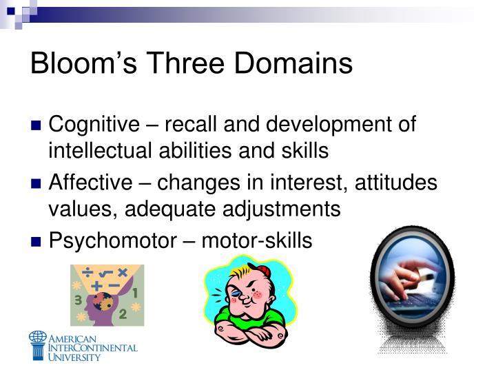 Bloom's Three Domains