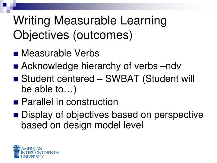 Writing Measurable Learning Objectives (outcomes)