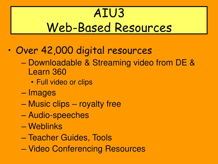 Aiu3 web based resources