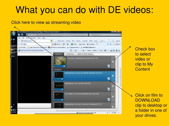 What you can do with DE videos: