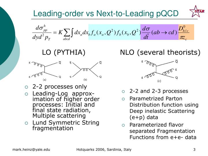 Leading order vs next to leading pqcd