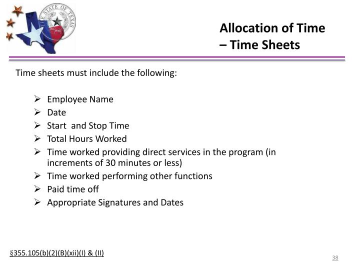 Allocation of Time – Time Sheets