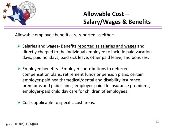 Allowable Cost – Salary/Wages & Benefits