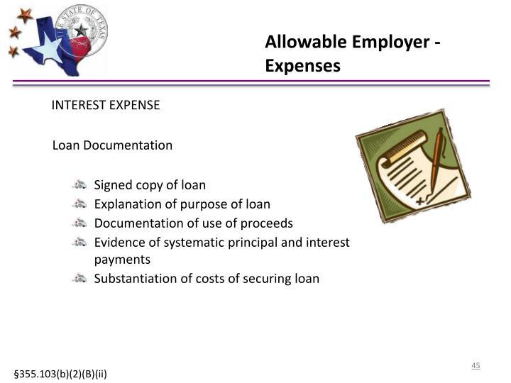 Allowable Employer - Expenses