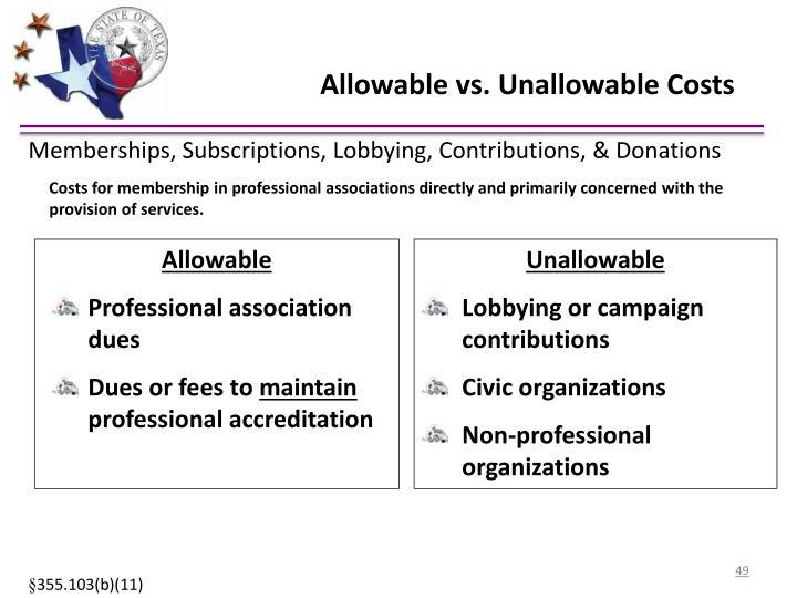 Allowable vs. Unallowable Costs