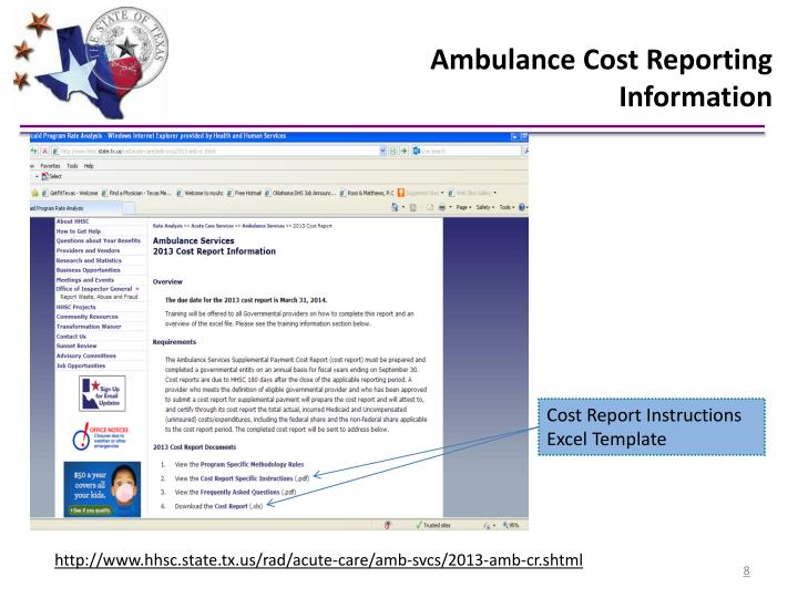 Ambulance Cost Reporting Information