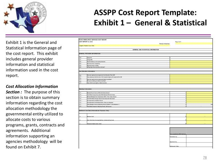 ASSPP Cost Report Template:
