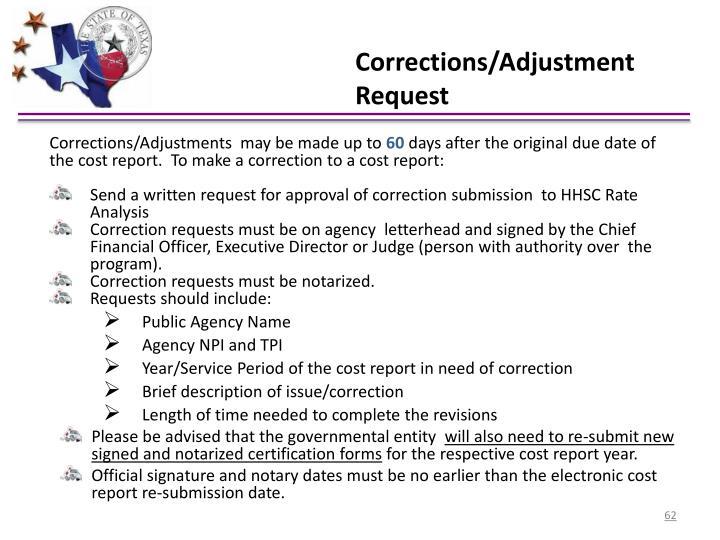 Corrections/Adjustment Request
