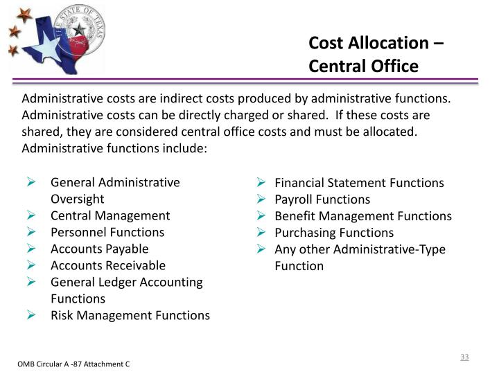 Cost Allocation – Central Office