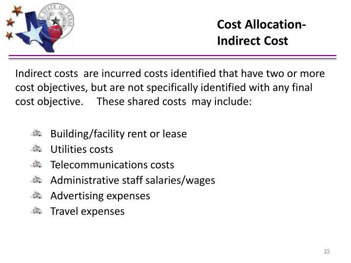 Cost Allocation- Indirect Cost