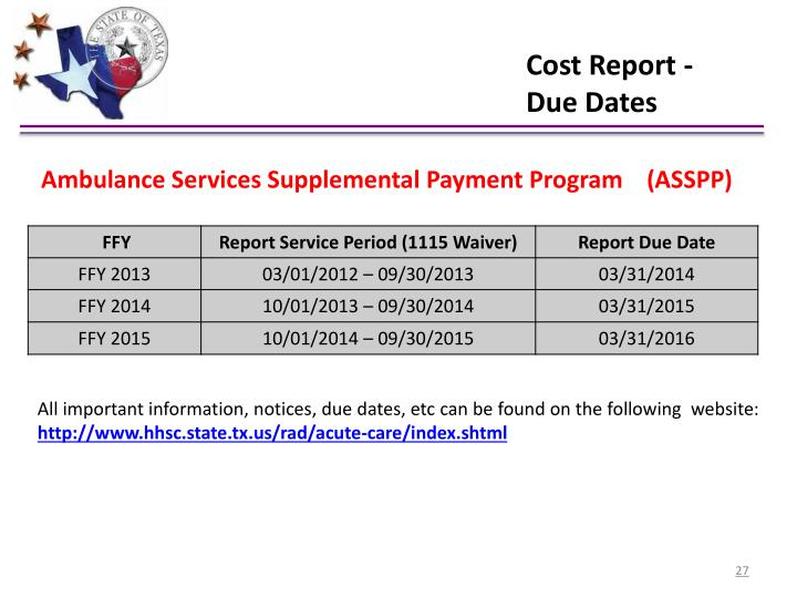 Cost Report -  Due Dates