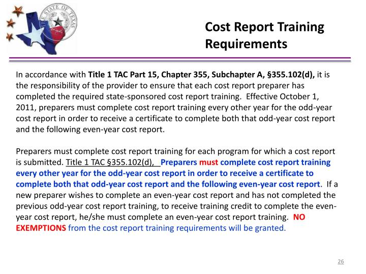 Cost Report Training Requirements