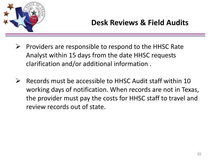 Desk Reviews & Field Audits