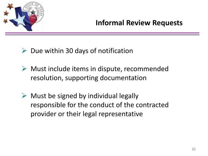 Informal Review Requests