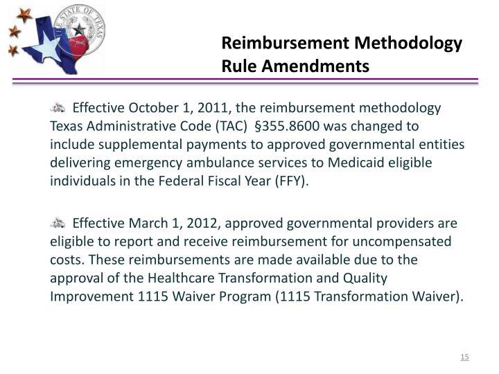 Reimbursement Methodology Rule Amendments