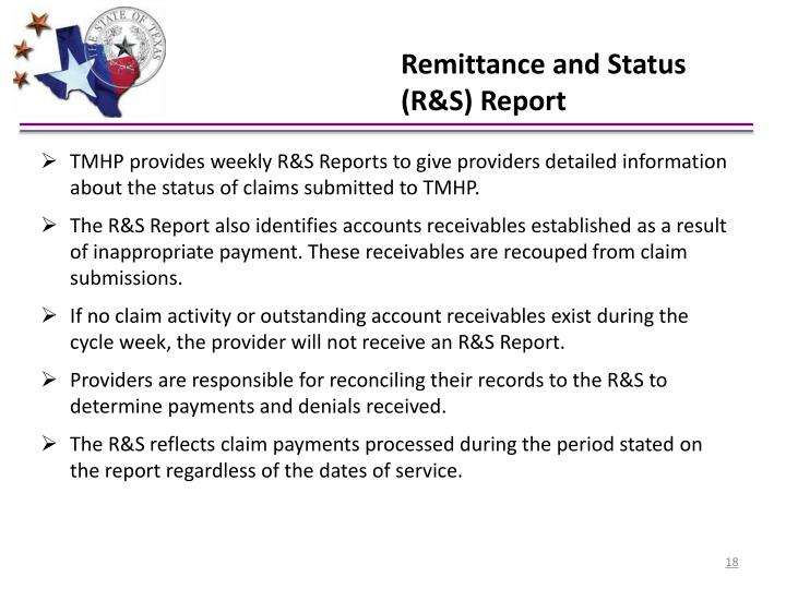 Remittance and Status (R&S) Report