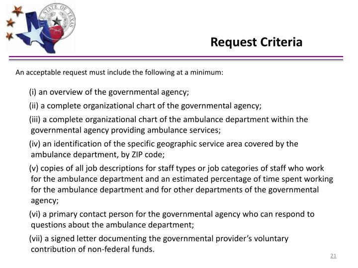 Request Criteria
