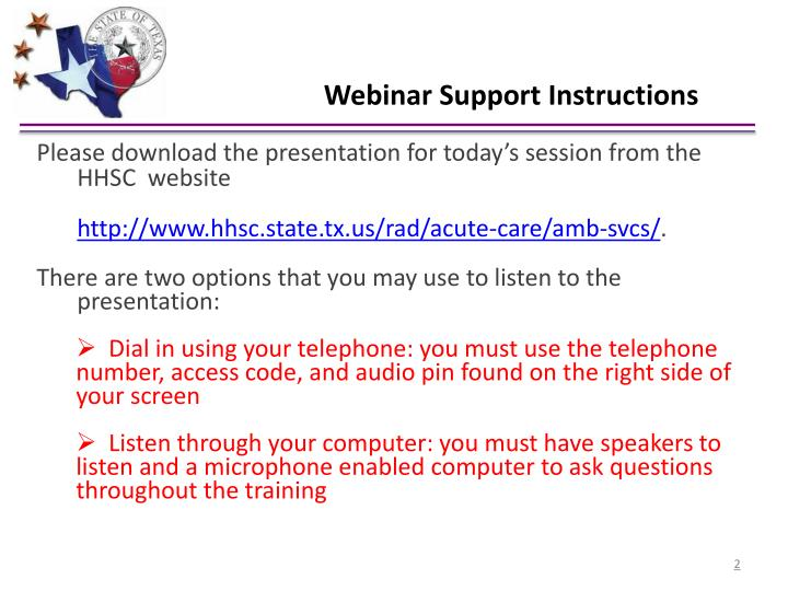 Webinar Support Instructions