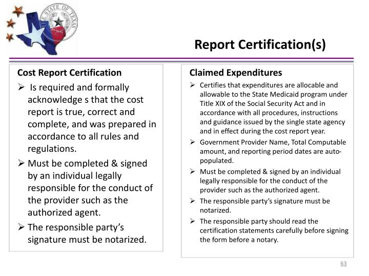 Cost Report Certification
