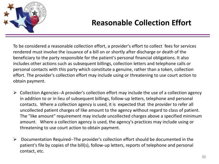 Reasonable Collection Effort