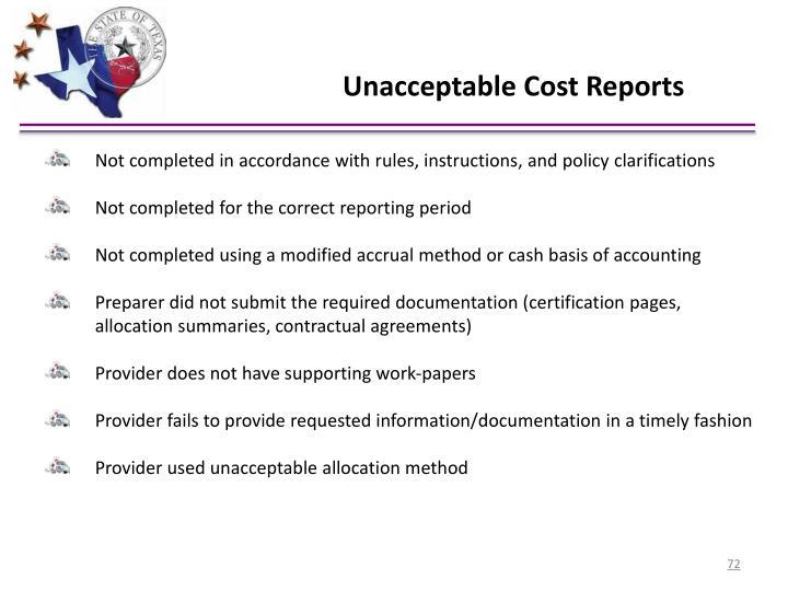 Unacceptable Cost Reports