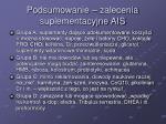 podsumowanie zalecenia suplementacyjne ais