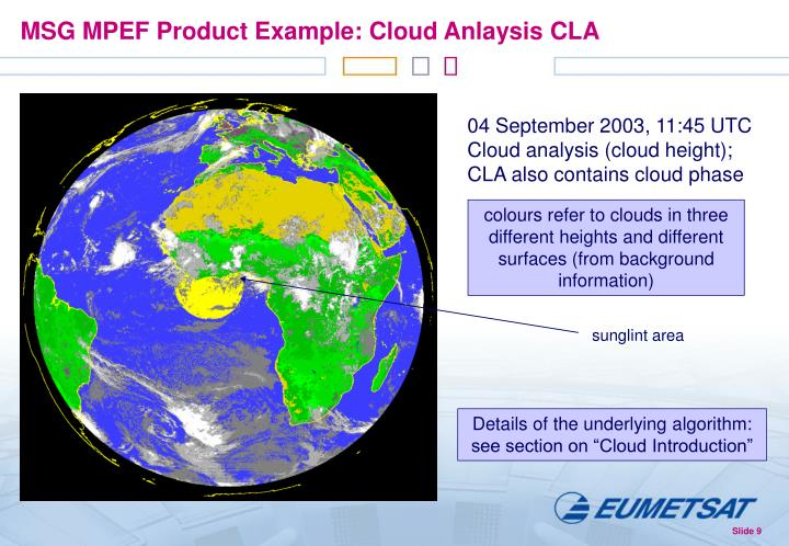 MSG MPEF Product Example: Cloud Anlaysis CLA