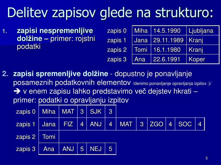 Delitev zapisov glede na strukturo: