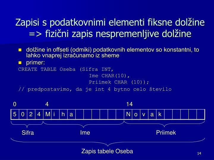 Zapisi s podatkovnimi elementi fiksne dolžine => fizični zapis nespremenljive dolžine