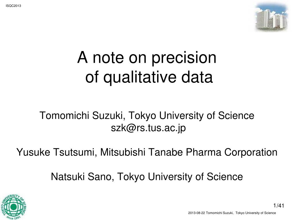 PPT - A note on precision of qualitative data PowerPoint