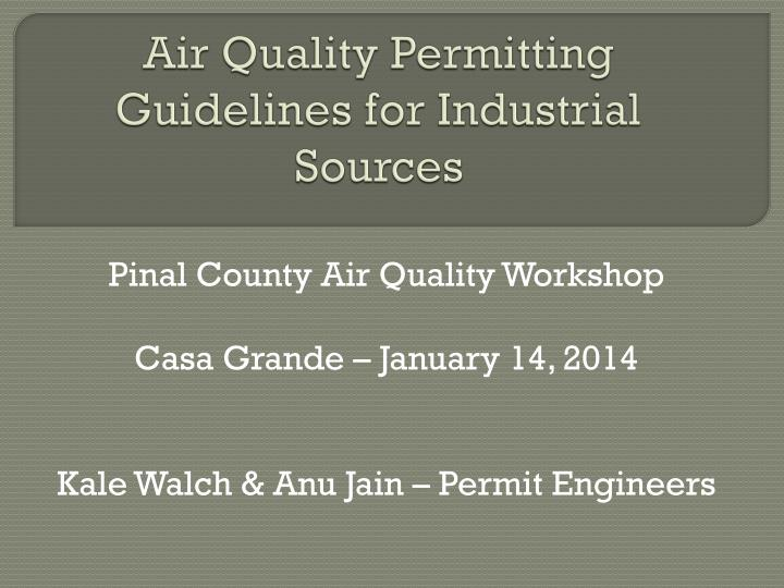 air quality permitting guidelines for industrial sources n.