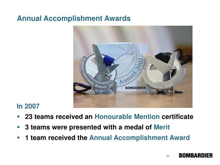 Annual Accomplishment Awards