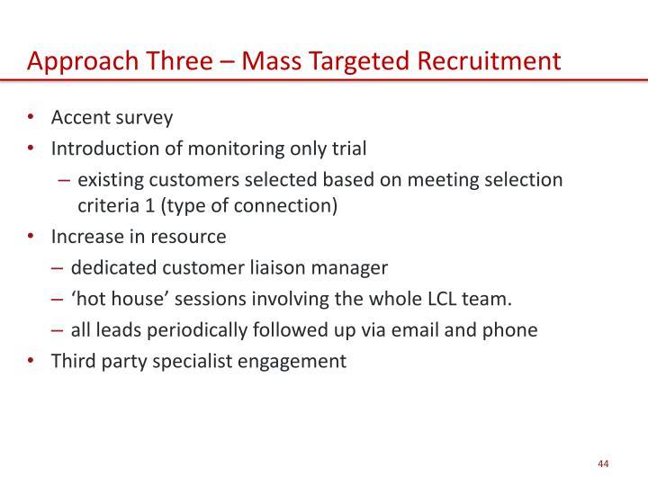 Approach Three – Mass Targeted Recruitment