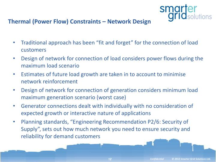 Thermal (Power Flow) Constraints – Network Design