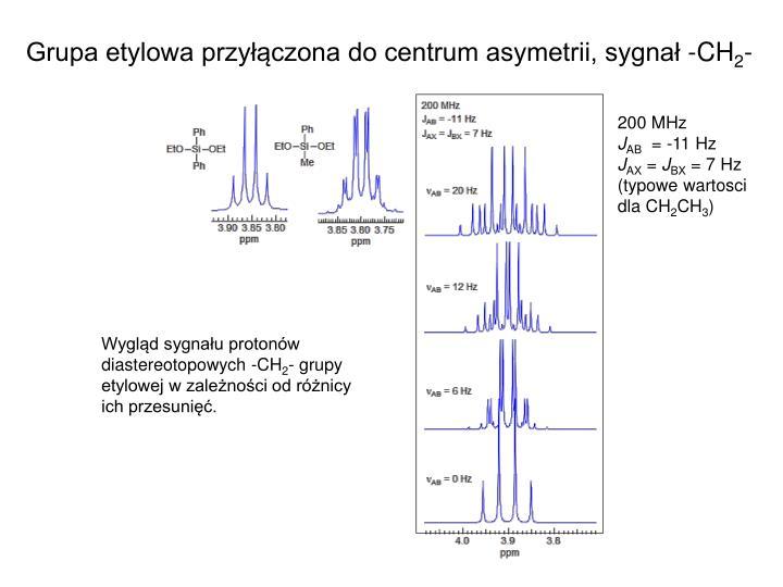 Grupa etylowa przyłączona do centrum asymetrii, sygnał -CH